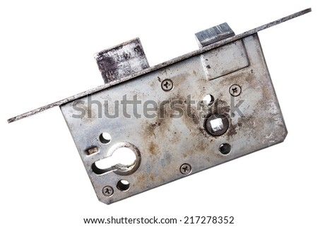 Closeup shot of old door lock isolated on white  - stock photo