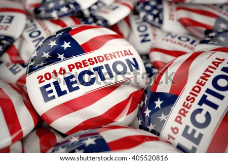 Closeup shot of one presidential election button in focus in between many other buttons in a box. Selective focus with shallow depth of field. - stock photo
