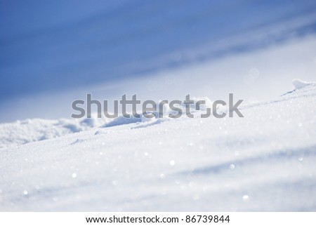 Closeup shot of snow on a sunny day in the Swiss Alps Europe - stock photo
