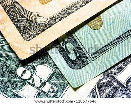 Closeup shot of US bank notes for background use - stock photo