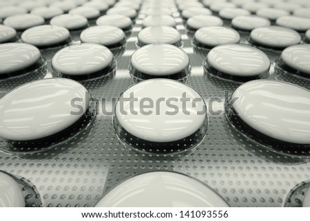 Closeup shot of white, unnamed tablets in a blister packaging. Perfect for any medicine or pharmaceutical related purposes. - stock photo