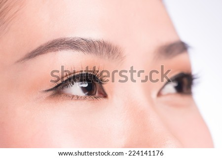 Closeup shot of woman eyes with day makeup. Female eye with long eyelashes close up - stock photo