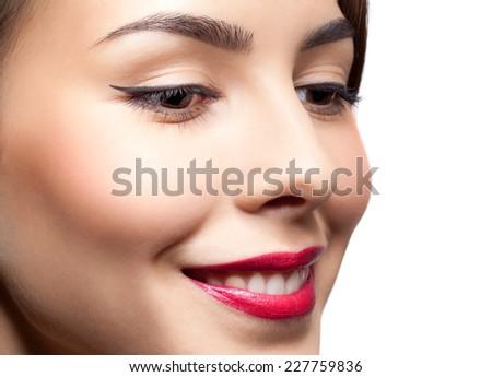 Closeup shot of woman face with day makeup - stock photo