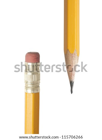 Closeup showing the ends of yellow pencils - rubber and graphite tips - stock photo