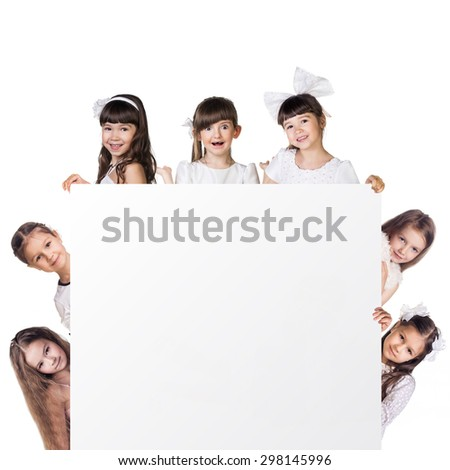 Closeup side of girls stay around empty frame - stock photo