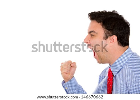 Closeup side profile portrait of handsome businessman yelling with blue shirt and red tie, isolated on white background with copy space - stock photo