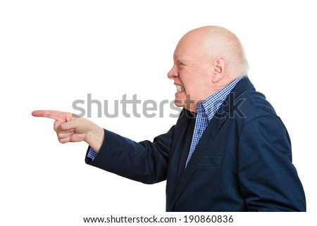 Closeup side view portrait, mad, serious, senior, mature man, pointing at you index finger hand sign gesture, isolated white background. Negative human emotions, facial expressions, feelings, symbols - stock photo