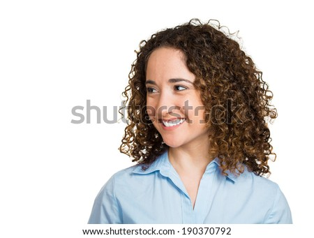 Closeup side view profile headshot portrait, young, curly, brown hair woman, happy, confident grad student, isolated white background. Positive human face expressions, emotions, feelings, attitude. - stock photo