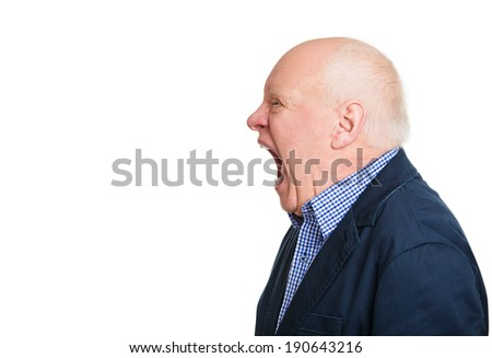 Closeup side view profile portrait, headshot mad, upset, senior mature man, funny looking business man, wide open mouth yelling, isolated white background. Negative emotion facial expression, reaction - stock photo