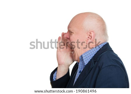 Closeup side view profile portrait, headshot mad, upset senior mature man, stressed looking business man, open mouth yelling, isolated white background. Negative emotion, facial expression, reaction - stock photo