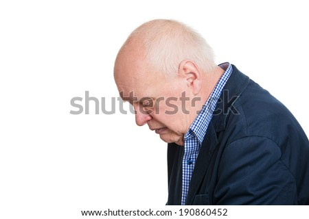 Closeup side view profile portrait, headshot sad alone dark gloomy, frustrated stressed senior mature man bending head down, having really bad nightmare day. Negative emotion facial expression feeling - stock photo