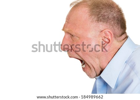 Closeup side view profile portrait, mad, upset, senior mature man, funny looking business man, open mouth yelling, isolated white background. Negative emotion facial expression, reaction - stock photo
