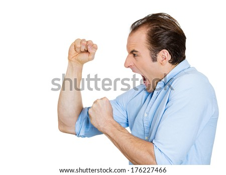Closeup side view profile portrait of angry upset young business man, funny worker employee, fists in air, open mouth yelling isolated on white background. Negative emotion facial expression emotion - stock photo