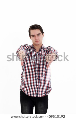 Closeup side view profile portrait of angry upset young man, worker, employee, business man hands in air, open mouth yelling isolated on white background. Negative emotions, facial expression reaction - stock photo