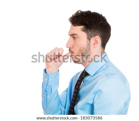 Closeup, side view profile portrait of man with finger in mouth, sucking thumb, biting fingernail in stress, deep thought, isolated on white background. Negative emotion, facial expression, feelings