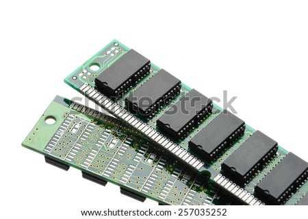 closeup SIMM 72-pin RAM isolated on white background - stock photo