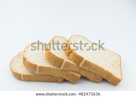 Closeup slice bread with sesame on white background