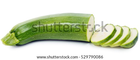 closeup sliced green zucchini, isolated on white