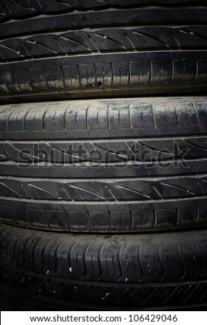 Closeup stack of car tires