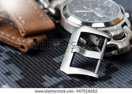 closeup stainless steel buckle (Pre-V style) for watch strap