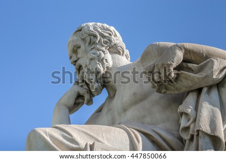Closeup Statue of the Philosopher Socrates on Sky Background  - stock photo