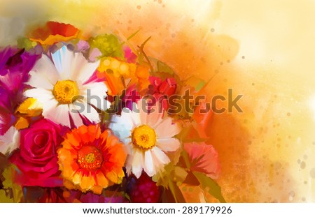 Closeup Still life of white, yellow and red color flowers .Oil painting a bouquet of rose,daisy and gerbera flowers with soft red and yellow color background. Hand Painted floral Impressionist style - stock photo
