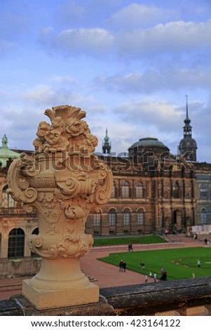 Closeup stone statue at Zwinger palace in Dresden, Germany