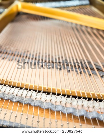 Closeup strings and pins inside classical piano