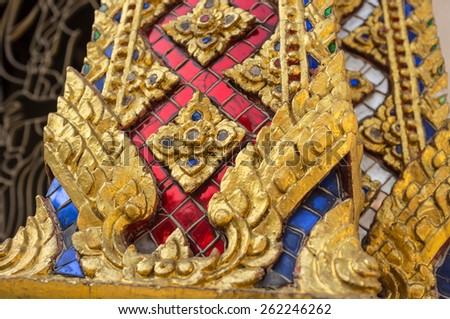 closeup Thai art craft in traditional buddhist temple - stock photo