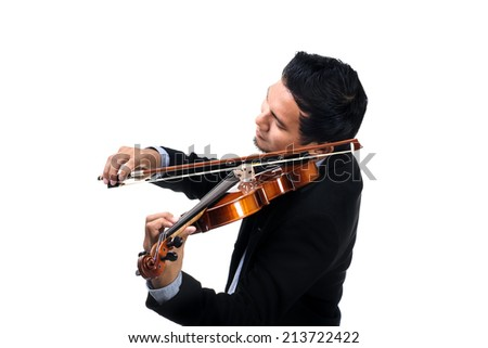 closeup Thai violinist playing his violin over white background - stock photo