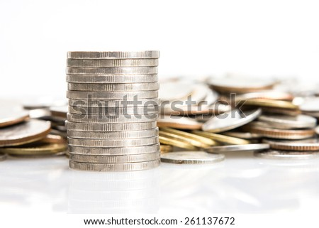 closeup the silver coins stacking - stock photo