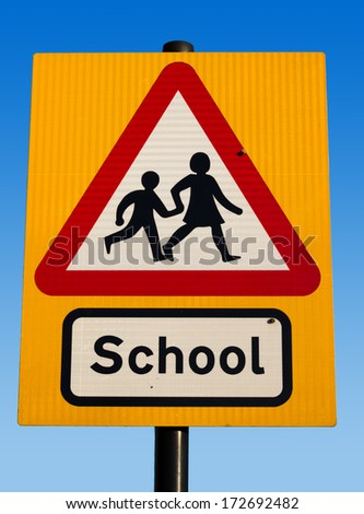 Closeup to a School Sign - stock photo