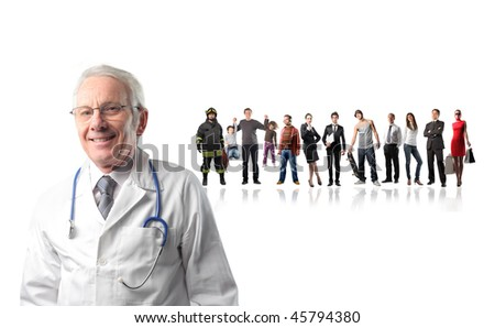 Closeup to a senior doctor with big group of people on the background - stock photo