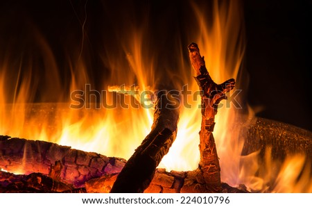 Closeup to flames in a fire bowl