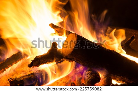 Closeup to flames in a fire bowl - stock photo