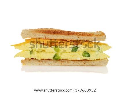closeup toasted western sandwich - stock photo