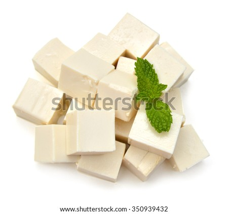 Closeup tofu and mint on white background  - stock photo