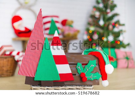 Closeup up handmade Christmas decoration elements