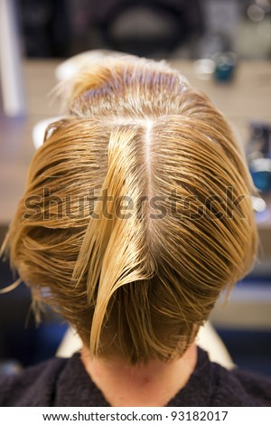 Closeup view during hair dyeing treatment ... - stock photo