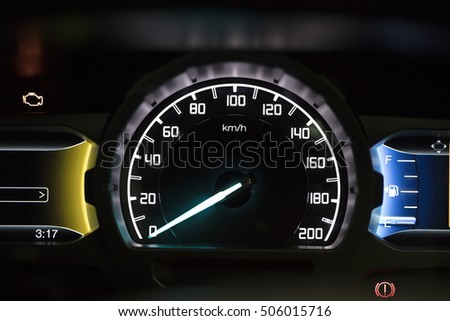 Closeup view of a beauty speedometer of Car
