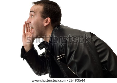 Closeup view of a man yelling something, isolated against a white background - stock photo