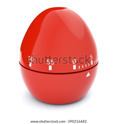 closeup view of a red egg-timer on white background, concept of deadline (3d render) - stock photo