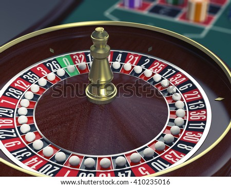 closeup view of a roulette wheels with a ball on every number, concept of cheating (3d render)