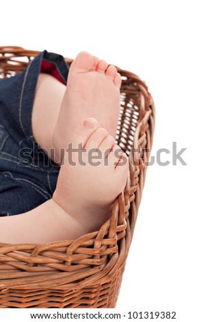 Closeup view of baby feet - stock photo