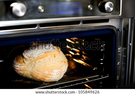 Closeup view of baked cake in the oven