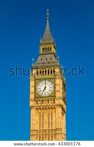 Closeup view of big ben in London with blue sky