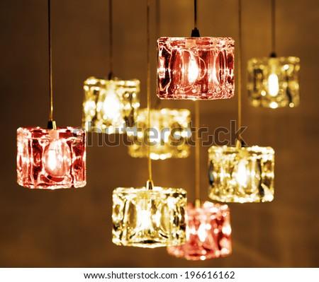 Closeup view of contemporary light fixture. - stock photo