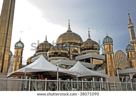 Closeup view of crystal mosque - stock photo