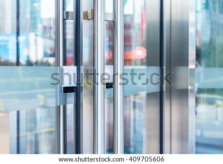 closeup view of detail of office building entrance - stock photo