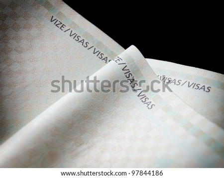 Closeup view of empty pages for visas in a passport. - stock photo